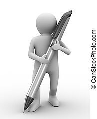 man with ball pen on white background. Isolated 3D image