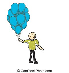 man with balloons happy day rejoices illustration