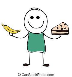 Man with banana and cake