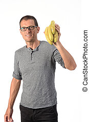 man with banana on white background