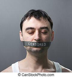man with bandage on face - man's portrait with bandage on...