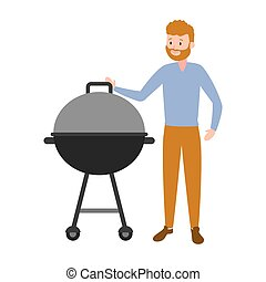 man with barbecue grill