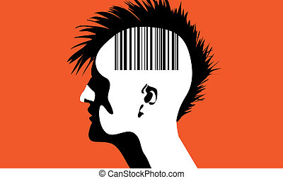 Man with barcode