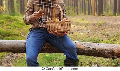 picking season and leisure people concept - middle aged man with wicker basket of mushrooms sitting on fallen tree in autumn forest