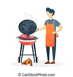 Man with bbq.
