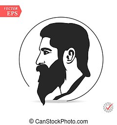 Man with beard. Fashion silhouette hipster style,
