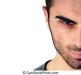 man with beard, half face - young man with beard, half face,...