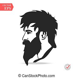 Man with beard variations silhouette. Fashion silhouette hipster style,