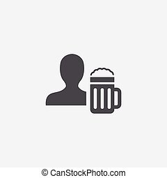 man with beer glass icon
