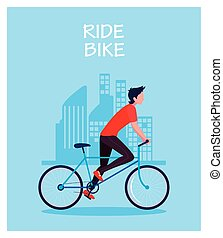 man with bicycle, label ride bike
