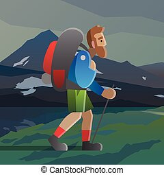 Man with big beard walking in the mountains.