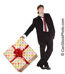 Man with big gift box.