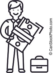 man with big money and suitcase vector line icon, sign,...