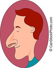 Man with big nose, illustration, vector on white background.