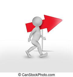 Man with big red arrow