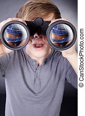 man with binoculars sees woman