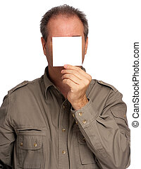 Man with blank paper