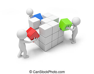 Three 3d people putting the cube of blocks