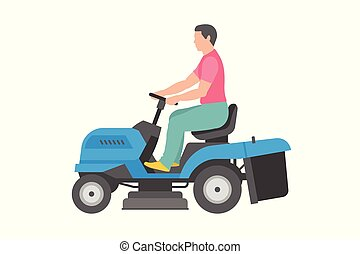 Man with blue lawnmower