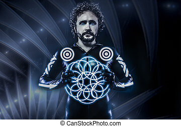 Man with blue neon lights, the future warrior costume, fantasy soldier, grey room
