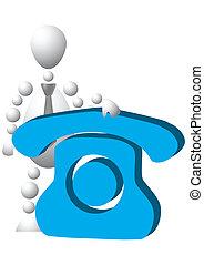 Man with blue phone symbol