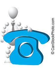 Man with blue phone symbol