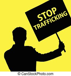 man with board with stop trafficking illustration on yellow