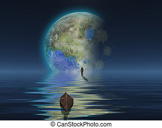 Man with boat on water surface against the planet