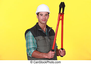 Man with boltcutters