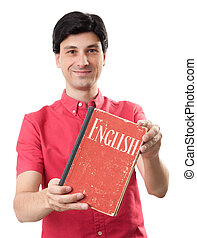 Man with book. learning English concept