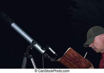 Man With Book Near Telescope