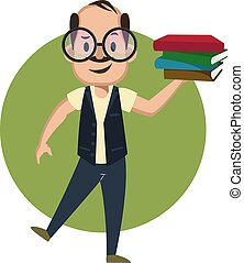 Man with books, illustration, vector on white background.