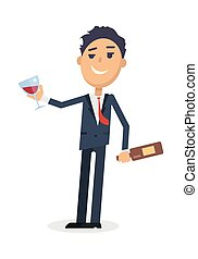 Man with bottle of wine and glass isolated on white. Young man toast the success. Drunk boy with alcohol. Alcohol addicted person with a bottle. Alcoholism. Vector illustration in flat style.