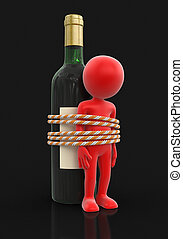 Man with bottle. Image with clipping path