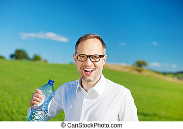 Man with bottled water