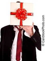 Man with  box instead  head. Isolated.