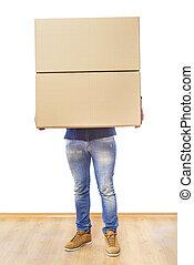 Man with box.
