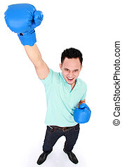 man with boxing glove win