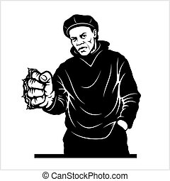 Man with brass knuckles. Gangster - Ghetto Warriors. Vector ...