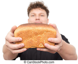 man with bread on a white background