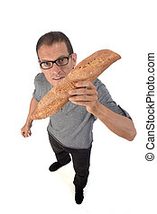 man with bread on white background