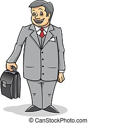 Man with briefcase - Cheerful businessman with briefcase...