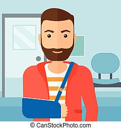 Man with broken arm. - A hipster man with broken arm in ...