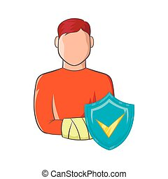 Man with broken arm and sky blue shield icon