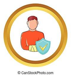 Man with broken arm vector icon