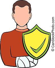 Man with broken arm with shield icon cartoon