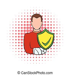 Man with broken arm with shield icon, comics style
