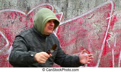Man with broken glass beer bottle 2