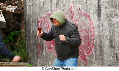 Man with broken glass beer bottle 3