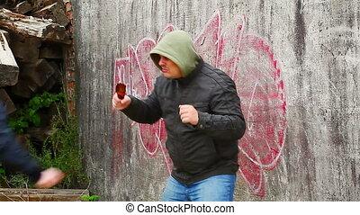 Man with broken glass beer bottle 3